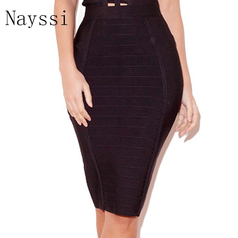 Nayssi 2019 Women New Fashion Sexy  Knee Length Stripes Bandage Skirt