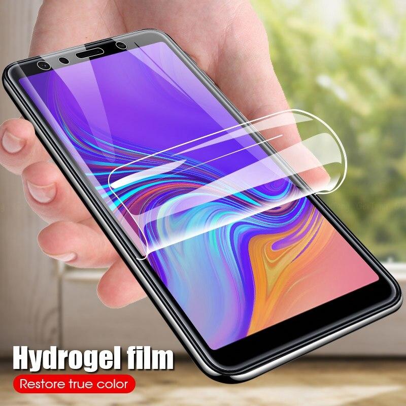 9D suave protectora HD hidrogel de película para Samsung Galaxy A8 A6 más A7 A9 2018 completa de la cubierta de Protector de pantalla película (no de vidrio)