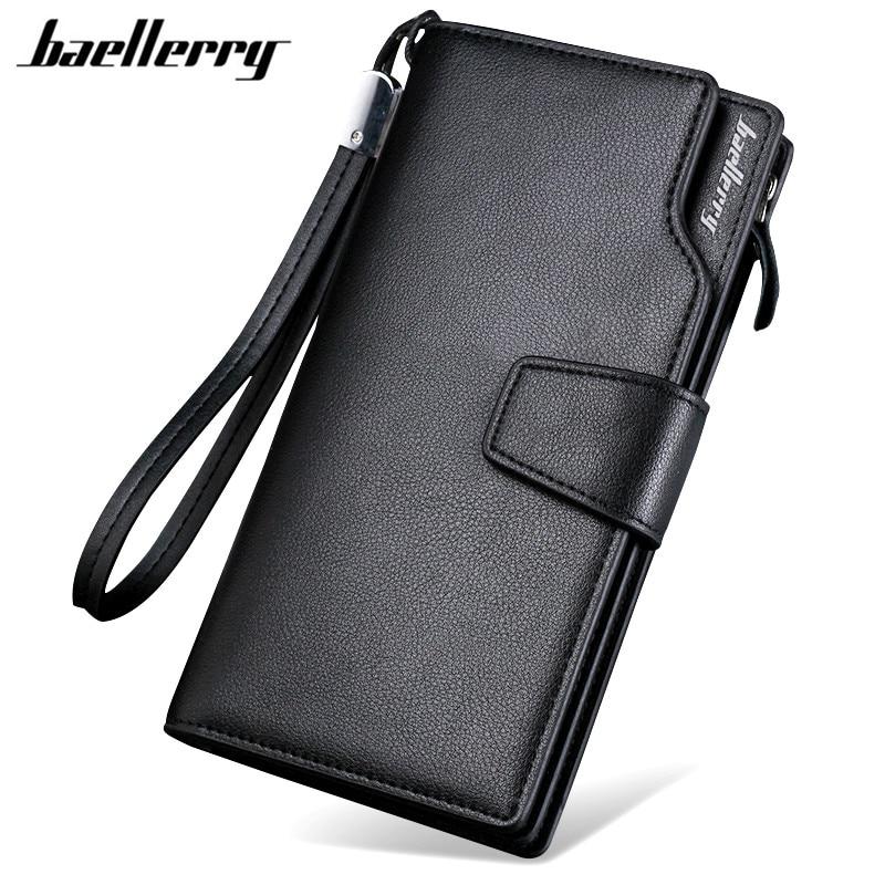 Baellerry, billeteras de lujo para hombre, cartera larga para hombre, Cartera de cuero PU con cremallera, billetera de negocios para hombre, monedero