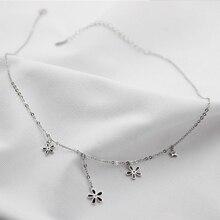 XIYANIKE nouveauté mode 925 argent noir fleurs clavicule chaîne collier ras du cou pour femmes fille déclaration collier VNS8270