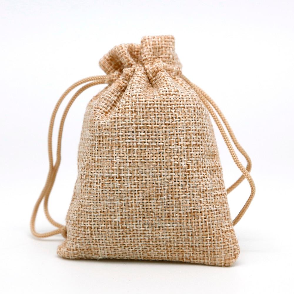 50 piunids/lote 7x9 bolsa de lino con cordón para boda y bolsas de embalaje de Navidad y bolsas de regalo bolsita de joyería pequeña y mini bolsas de yute