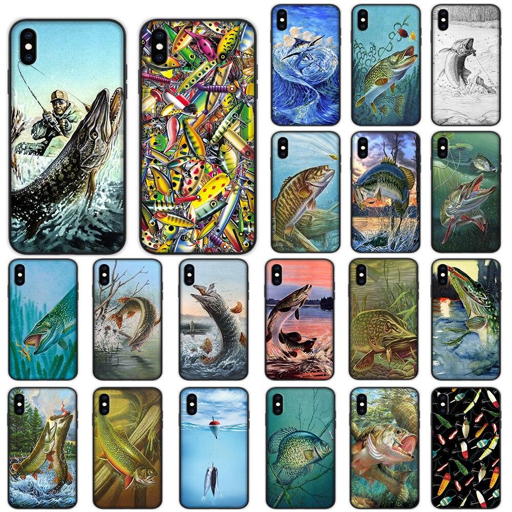 Lucio pescado arte de pesca señuelo suave para iPhone XS 11 Pro Max XR X 7 7 6 6S Plus funda