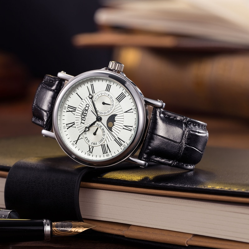 TIME100 hombres Relojes de Cuarzo Negro Correa de Cuero Fecha Auto Sun Fase Números Romanos Reloj Colck de Negocios relogio masculino