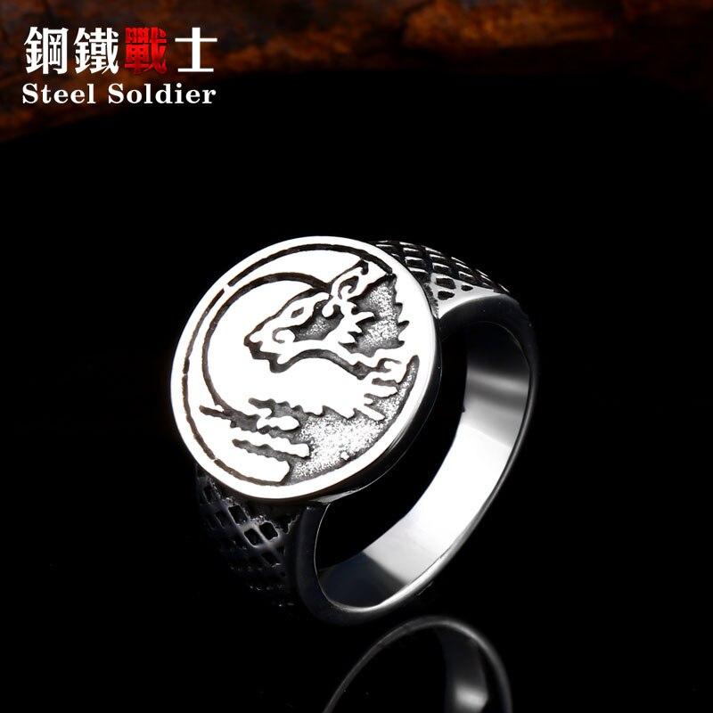 Design especial celestial cão devorando o sol 316l aço inoxidável masculino anel relacionado com chinês característica história jóias