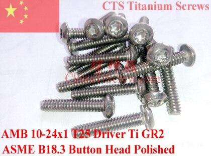 مسامير تيتانيوم 10-24 × 1 ، رأس زر Torx T25 ، Ti GR2 مصقول ، 50 قطعة