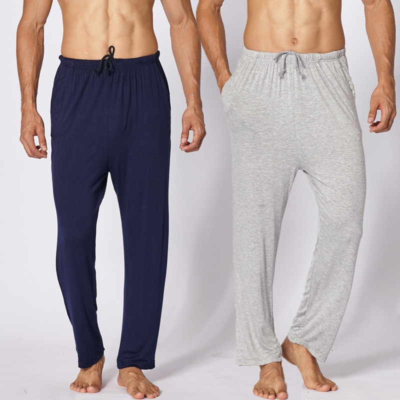 Sleep Bottoms Mens Soft Comfortable Drawstring Homewear Modal Pijamas Pants Sleepwear Loose Casual L