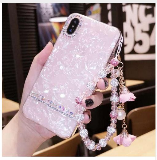 Para iPhone 6 6s 7 8 X XS MAX XR para Samsung galaxy s7 edge s8 s9 s10 plus note 9 pulsera de flores de perlas acollador carcasa de teléfono