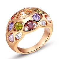 round cut ring rose gold filled colorful womens fashion ring size 6789