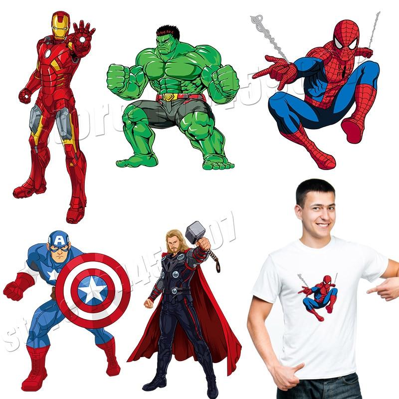Parches de Los Vengadores dibujos animados capitán de América Iron Man pegatinas de Superman en ropa lavable Applique Spider-man Parches