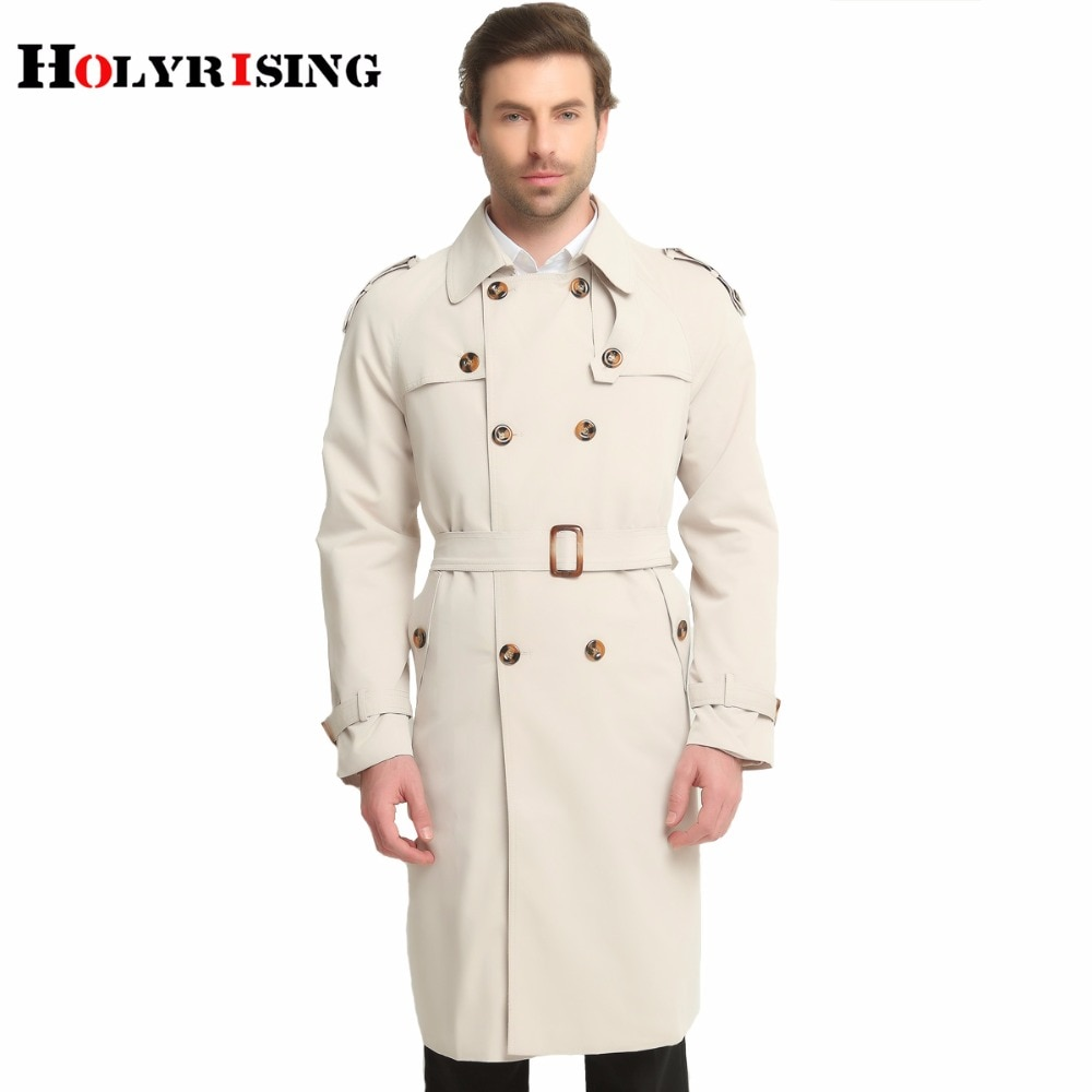 Holyrising S-6XL طويل خندق معطف الرجال الكلاسيكية الموضة البريطانية الترفيه سليم صالح سترة واقية مزدوجة الصدر الصلبة البيج معطف رياح