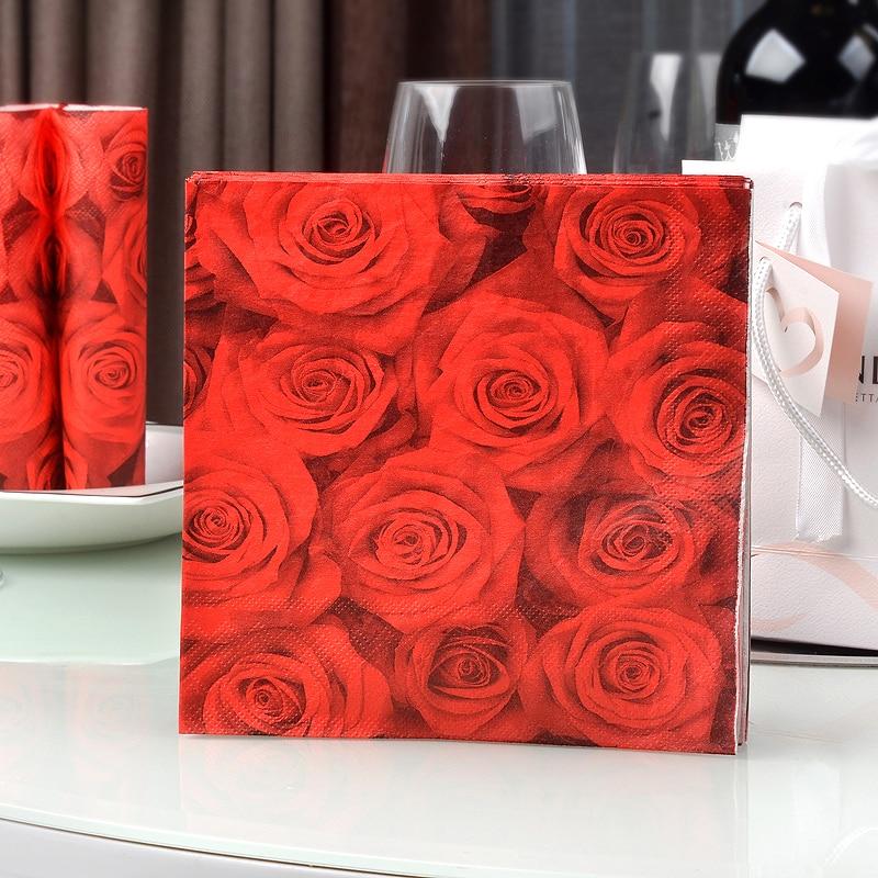Vintage Decoupage Paper Napkin pink red purple rose tissue flower wedding party floral towel Guardanapo serviette dinner  decor