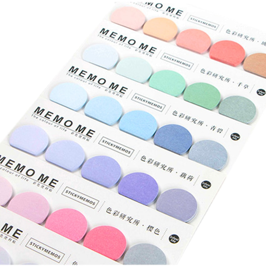 1pack/lot  simple 6 colors mini notepad note row memo pad kawaii message notes scrapbooking planner stickers