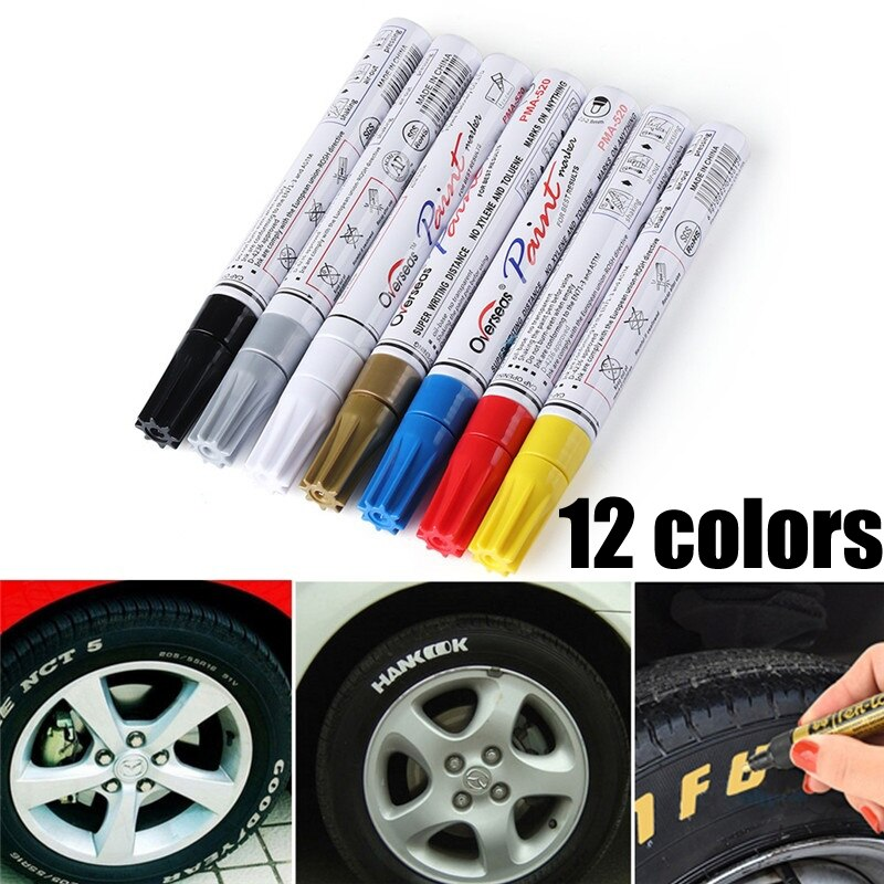 Colorful Waterproof Pen Car Tyre Tire Tread Metal Permanent Paint markers Graffiti Oily Marker Pen Car Styling недорого