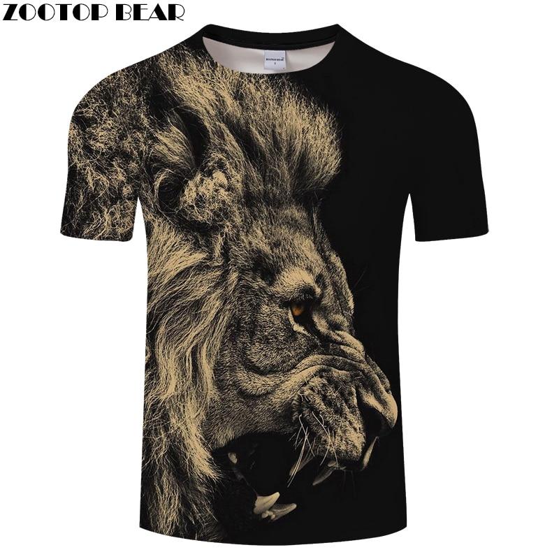 Animal camiseta hombres mujeres camiseta León camiseta 3D negro Top Streatwear manga corta Camiseta ropa marca 6XL Dropship ZOOTOPBEAR