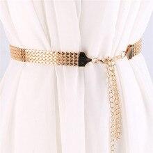 Cinturón de cintura alta para mujer, cadena de Metal estrecha dorada, con flecos gruesos, ajustable, cadena larga