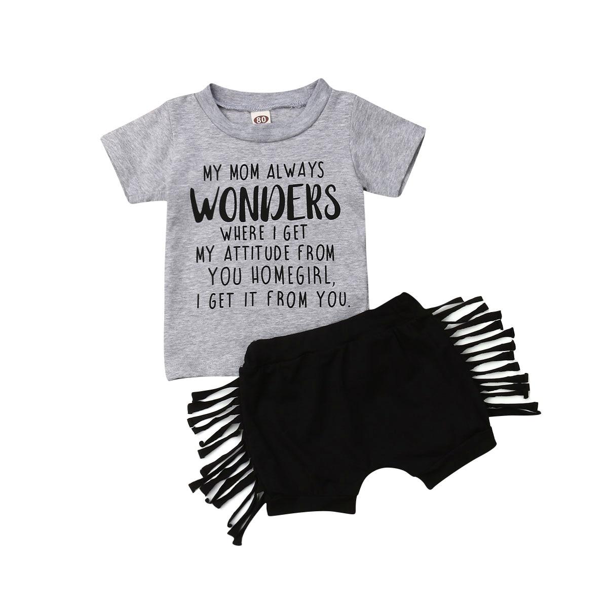 2019 verano niños bebé niña manga corta letra impresa camiseta Tops borla pantalones cortos pantalón Inferior 2 piezas ropa conjunto