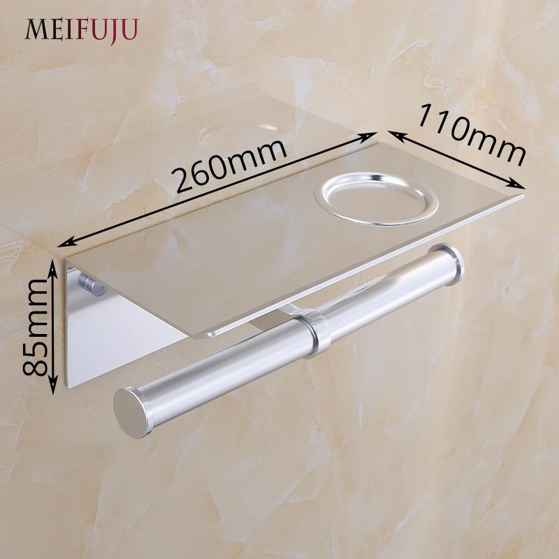 Купить с кэшбэком MEIFUJU Aluminum Toilet Paper Holder with Shelf Gold Toilet Toll Holder Black Double Roll toilet Paper Holders With Ashtray