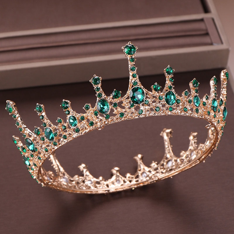 Green Crystal Rhinestone Tiara and Crown de Noiva Bride Round Queen Diadem Headpiece Wedding Bridal Hair Jewelry Accessories  LB