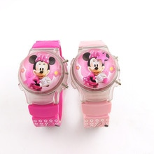Flash light Minnie Kids Watch Silicone Strap Girl Watch Flip cover Fashion Lantern Children Watch bo