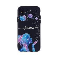 Personnalisé espace extérieur lune étoiles nom de fille téléphone portable noir étui pour iPhone 11 Pro XS Max XR X 7plus 8Plus