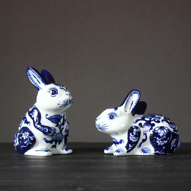 Cerámica azul y blanca bonitos adornos de conejito decoración para el hogar Decoración de habitación decoración animales conejos figuras de porcelana regalos de boda