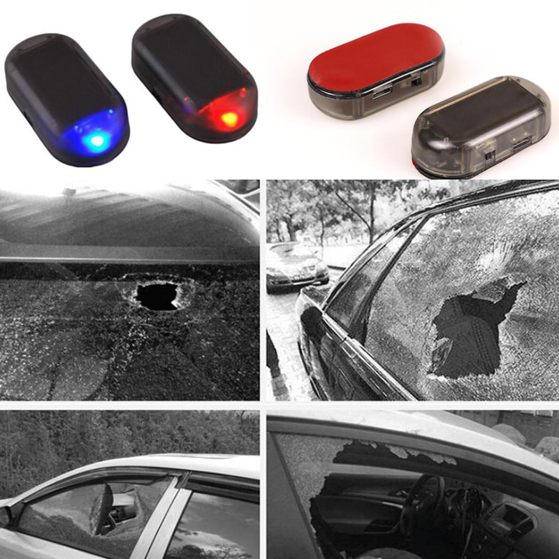 2x Universal Car Led Blue Red Light Anti-Theft Flash Blinking Fake Car Solar Dummy Alarm System imitation недорого