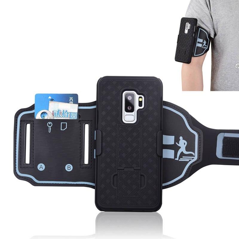 Correndo esporte braçadeira caso braço banda capa dura de volta caso suporte do telefone para samsung galaxy s9 s9 + s10 5g mais s10e nota 9 note10 +