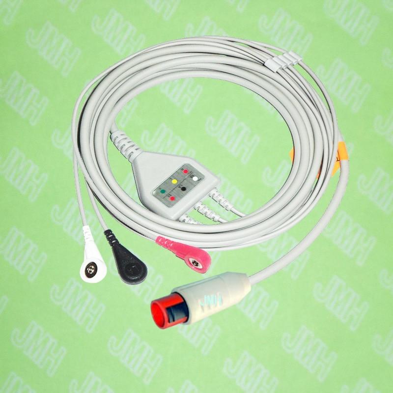 Compatible avec la Machine Bionet BM3 ECG 8pin, le câble monobloc 3 fils et le fil de connexion snap, IEC ou AHA.