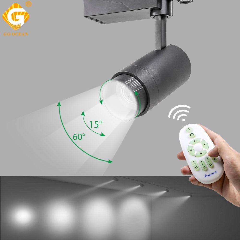 Control inalámbrico RF de 2,4G, luz de pista LED, 20W, colores cambiables, ajustables, focos de riel de techo, instalación de iluminación de pista ampliable