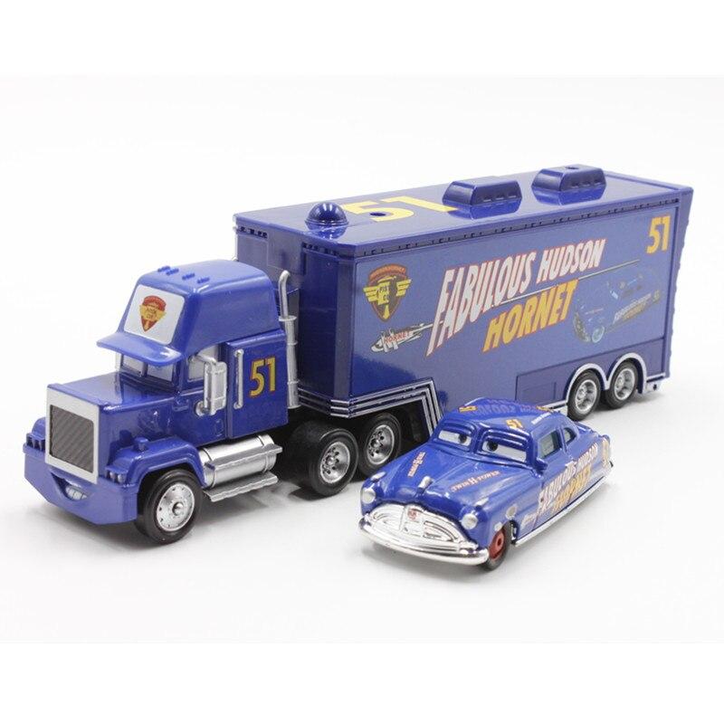 Disney pixar cars original no. 51 mack truck + kleine auto doc fabulous hudson goß metalllegierung und kunststoff modle auto für kinder