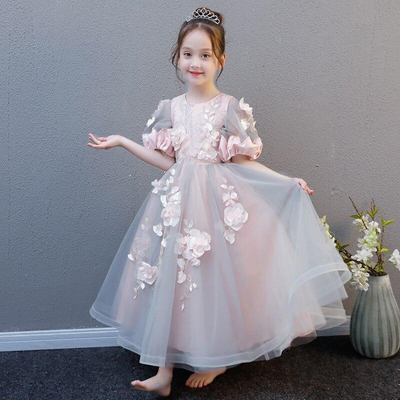 Роскошное летнее платье с цветами для девочек подростков Модное Длинное
