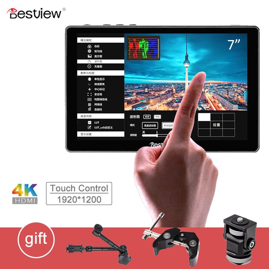 """Mejor vista R7 7 """"7 pulgadas pantalla 4K HDMI Monitor LCD pantalla de Control táctil Monitor en el campo de la cámara DSLR Monitor para cámaras de vídeo"""