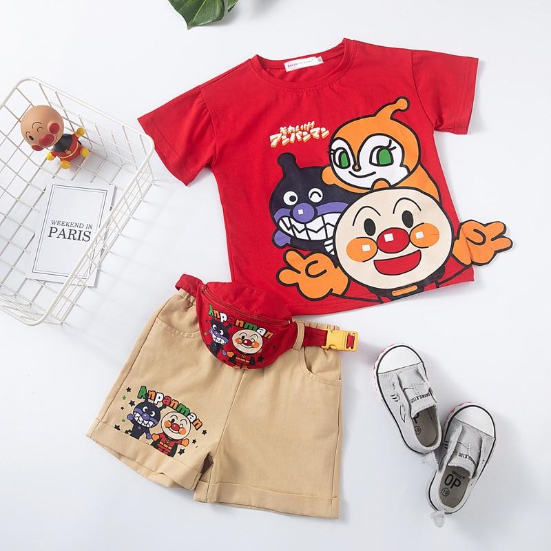 2019 kind Sommer Kleidung Kleinkind Jungen Anpanman T Hemd Anzug Baby Mädchen Cartoon T Hemd Outfits Jungen Hose Kurze + tasche 3 stücke