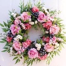 Couronne de fleurs artificielles-22 pouces   Roses artificielles rondes de printemps pour décoration de mariage, décor suspendu de fête murale à la maison