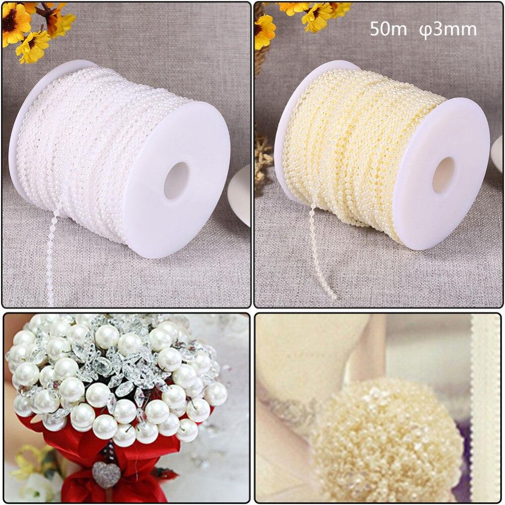 Cadena de perlas de imitación de 50m para decoración de boda, cuerda de perlas blancas Beige para decoración de fiestas de evento en casa, suministros de decoración