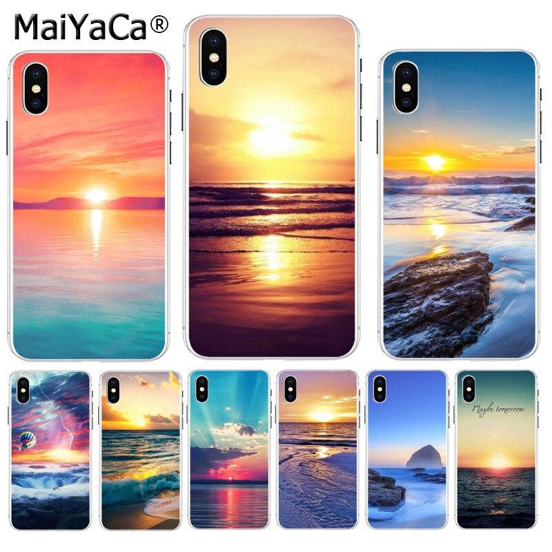 Maiyaca verão oceano mar pôr do sol praia luxo híbrido caso de telefone para apple iphone 8 7 6 s plus x xs max 5 5S se xr capa móvel