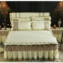 Bed Rok Thuis Textiel 1/3 Pcs Beige Blauw Roze Luxe Kant Beddengoed matrashoes Warme Dikke Sprei Bed linnen kussenslopen