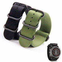 26mm High Quantity Quick Drying Breathable For Garmin Fenix 3 Black Watch Band Nylon Zulu Strap 5-Ring
