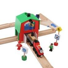 Rail de Train en bois accessoires ferroviaires grue maison tendre fente éducative vert maison grue bricolage Thoma Brio