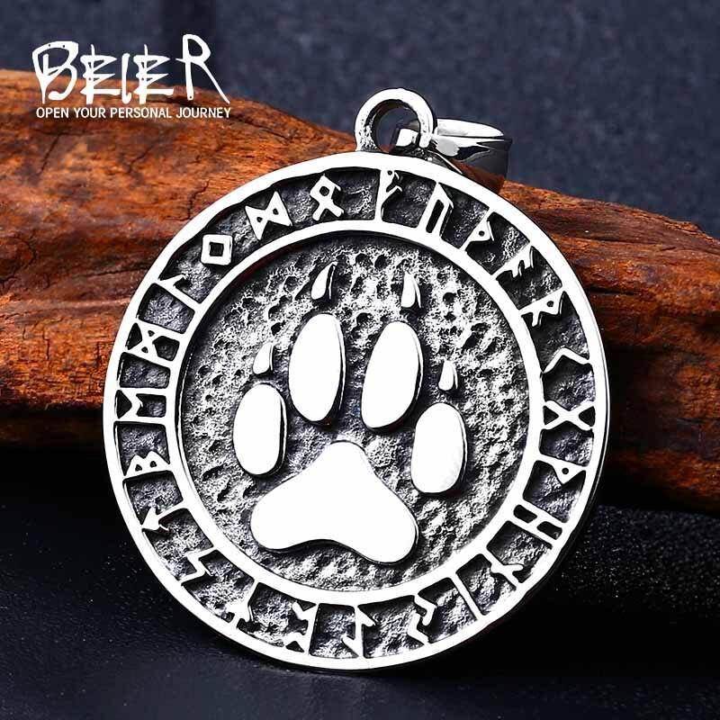 Beier 316L stainless Nordic Vikings Bear Print Amulet Pendant Necklace The Norse Bear Print  pendant Necklace Nordic Talisman