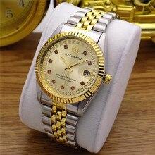ساعة يد عصرية للنساء والرجال من ماركة ريجينالد ذهبية فاخرة بالكامل ساعة حريمي من الفولاذ ذات أنماط كريستالية ساعة مقاومة للماء