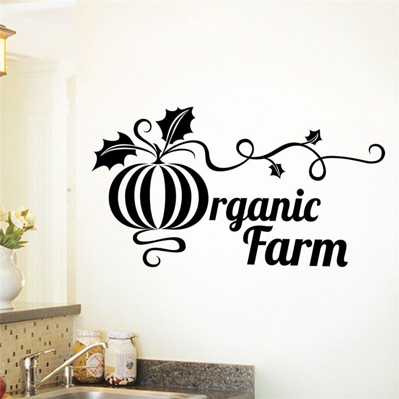 creative pumpkin wall stickers kitchen home decor accessories wall decals organic farm letters vinyl mural art diy posters