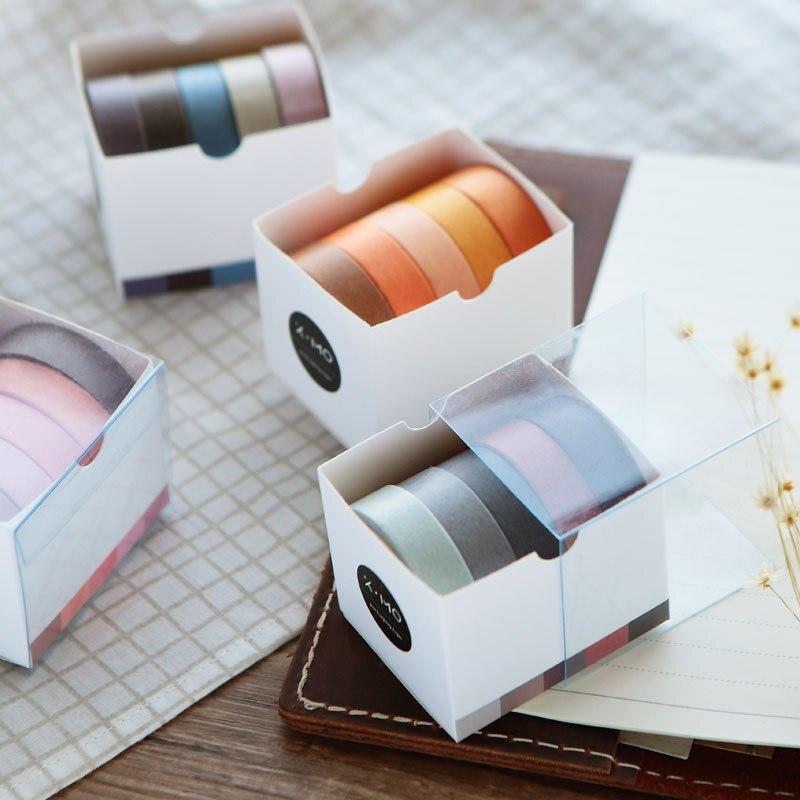 Japonés Vintage color sólido Washi papel cinta cuaderno planificador cinta decorativa de manualidades cinta adhesiva papelería estilo retro adhesivo 5 rollos