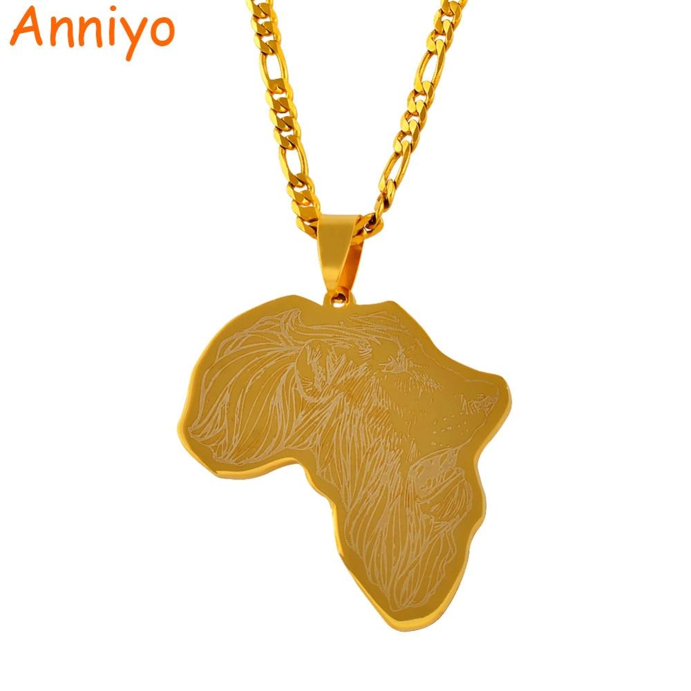Anniyo ouro cor áfrica mapa pingente colares com padrão de leão mapas africanos jóias hip hop presente #011421