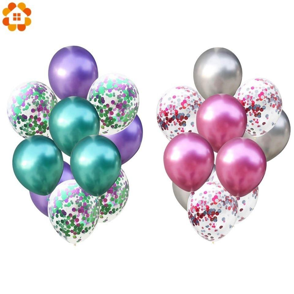 10 Uds 12 pulgadas globos de látex de colores globos de aire de confeti inflable bola globo de helio para suministros para fiestas, bodas y cumpleaños