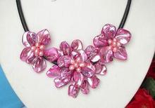 Glanz handwerk blüte pfirsich muschel rosa perlen halsreif leder halskette 17 zoll LANGE Schöne frauen Hochzeit Schmuck Ziemlich!