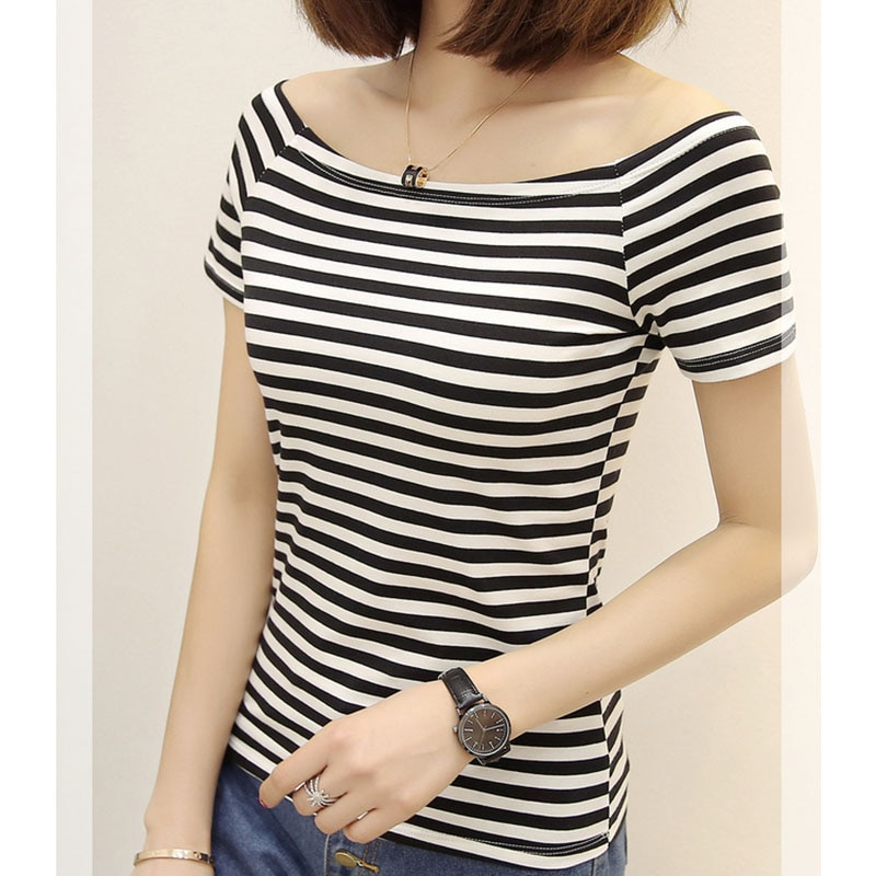 poleras de mujer 2019 t-shirt femme Women Fashion T-shirt Short Sleeve Casual Striped Slash neck White BF Style Tops Tee elegant
