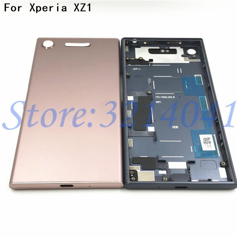 Новая Металлическая батарея корпус дверь для Sony Xperia XZ1 G8341 G8342 задняя крышка чехол Батарейная дверь задняя крышка Корпус рамка с логотипом