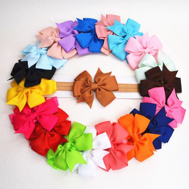 Diadema de nailon para niñas de 20 Uds., diadema de pelo para niños de Color caramelo, diadema en forma de lazo elástico para recién nacidos, Set de accesorios para el cabello