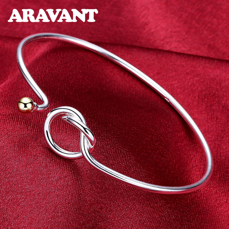 New 925 Jewelry Fashion Bead Knot Bangles For Women Fashion Cuff Bracelets Jewelry